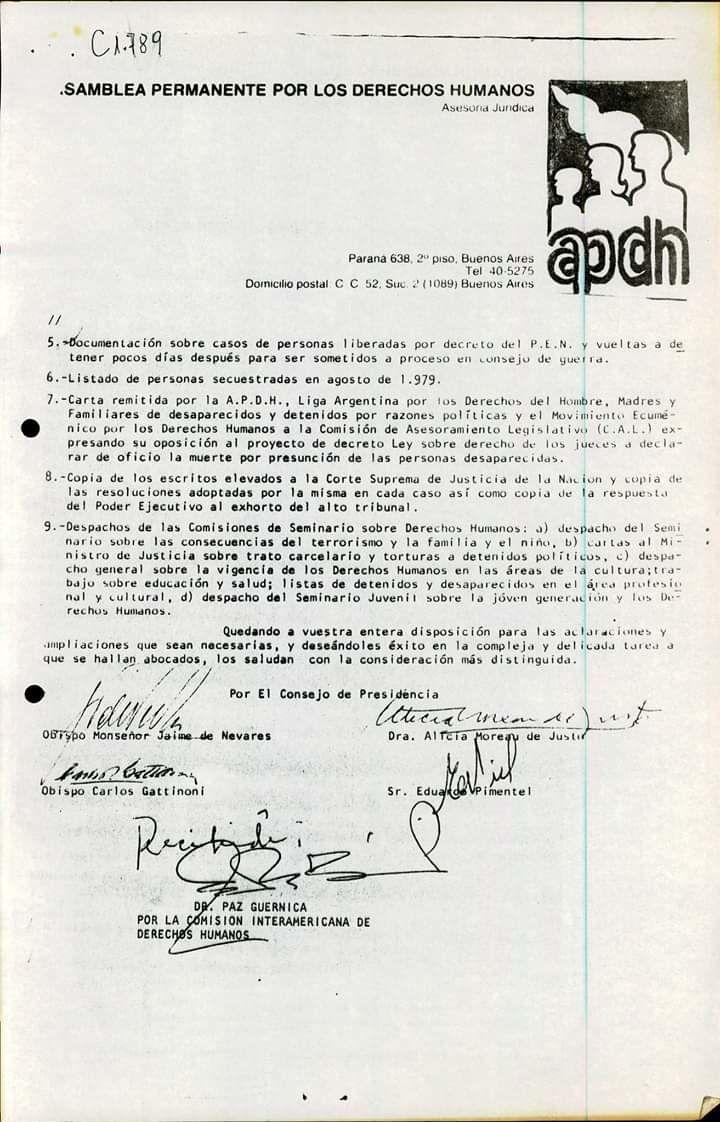Carta enviada por la Asamblea Permanente de Derechos Humanos a la CIDH en 1979 (parte 2)
