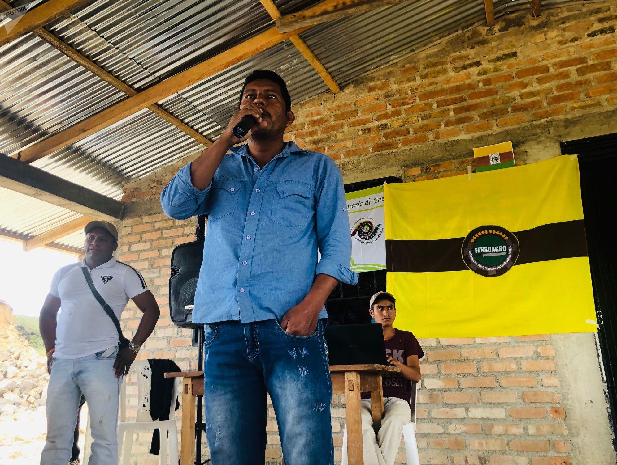 Leider Valencia, líder campesino y vocero de la COCAM
