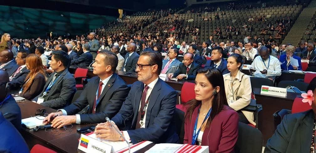 Félix Plasencia, el ministro de Turismo y Comercio Exterior venezolano en a 23 Asamblea General de la Organización Mundial del Turismo