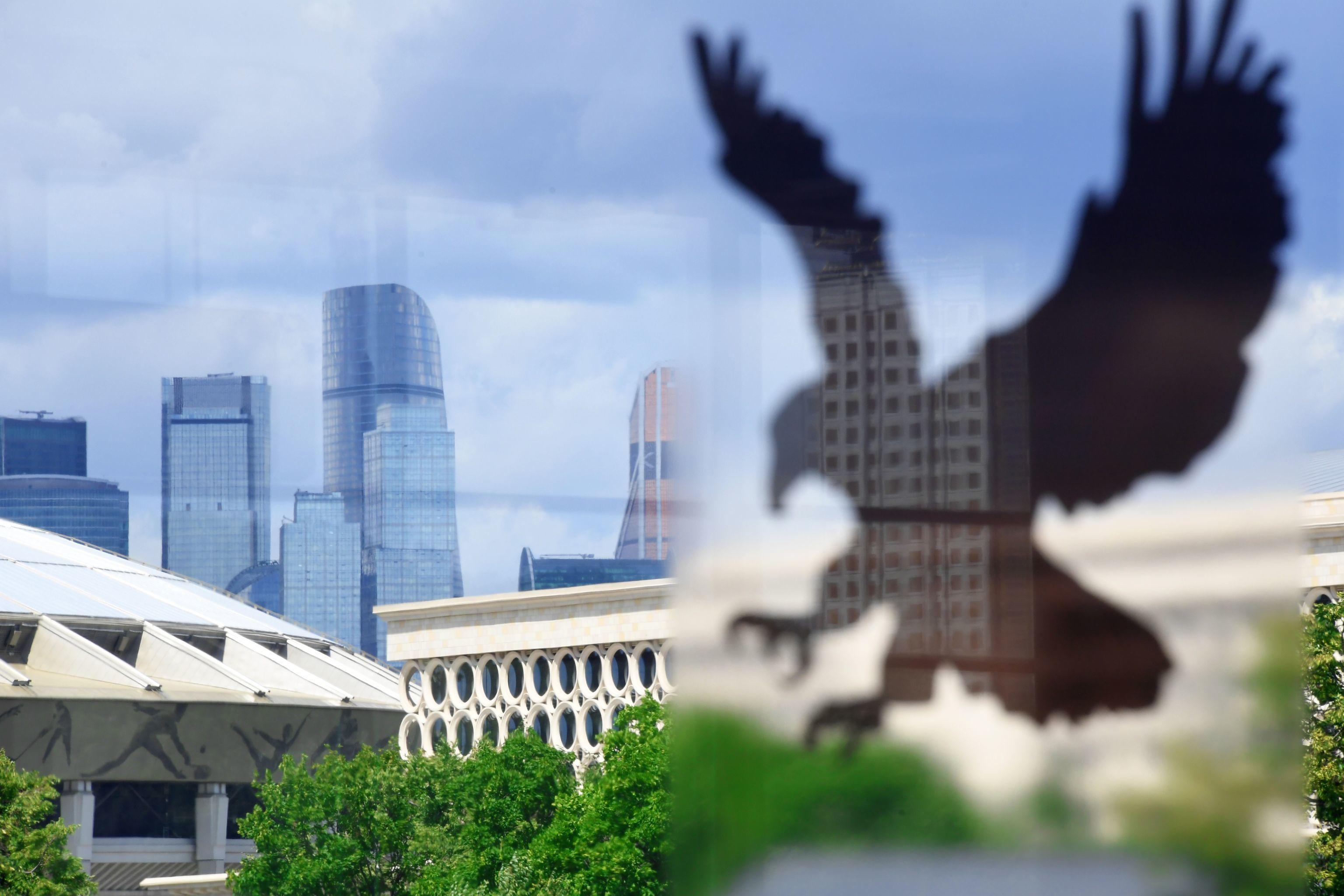 Pegatinas con imágenes de aves depredadoras para ahuyentar a los pájaros en uno de los edificios de Moscú