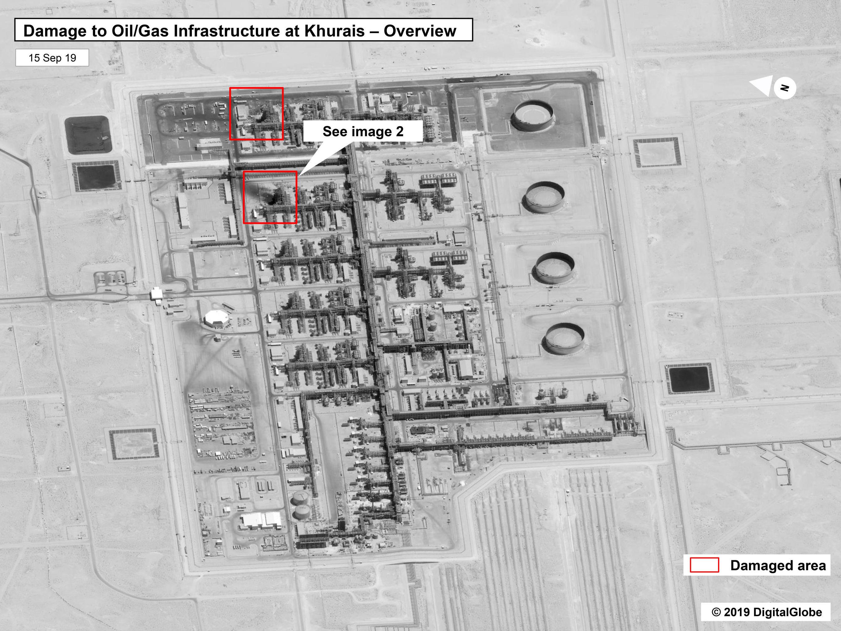 En la imagen se observa el ataque a la refinería en Buqyaq (Khurais) propiedad de Aramco.