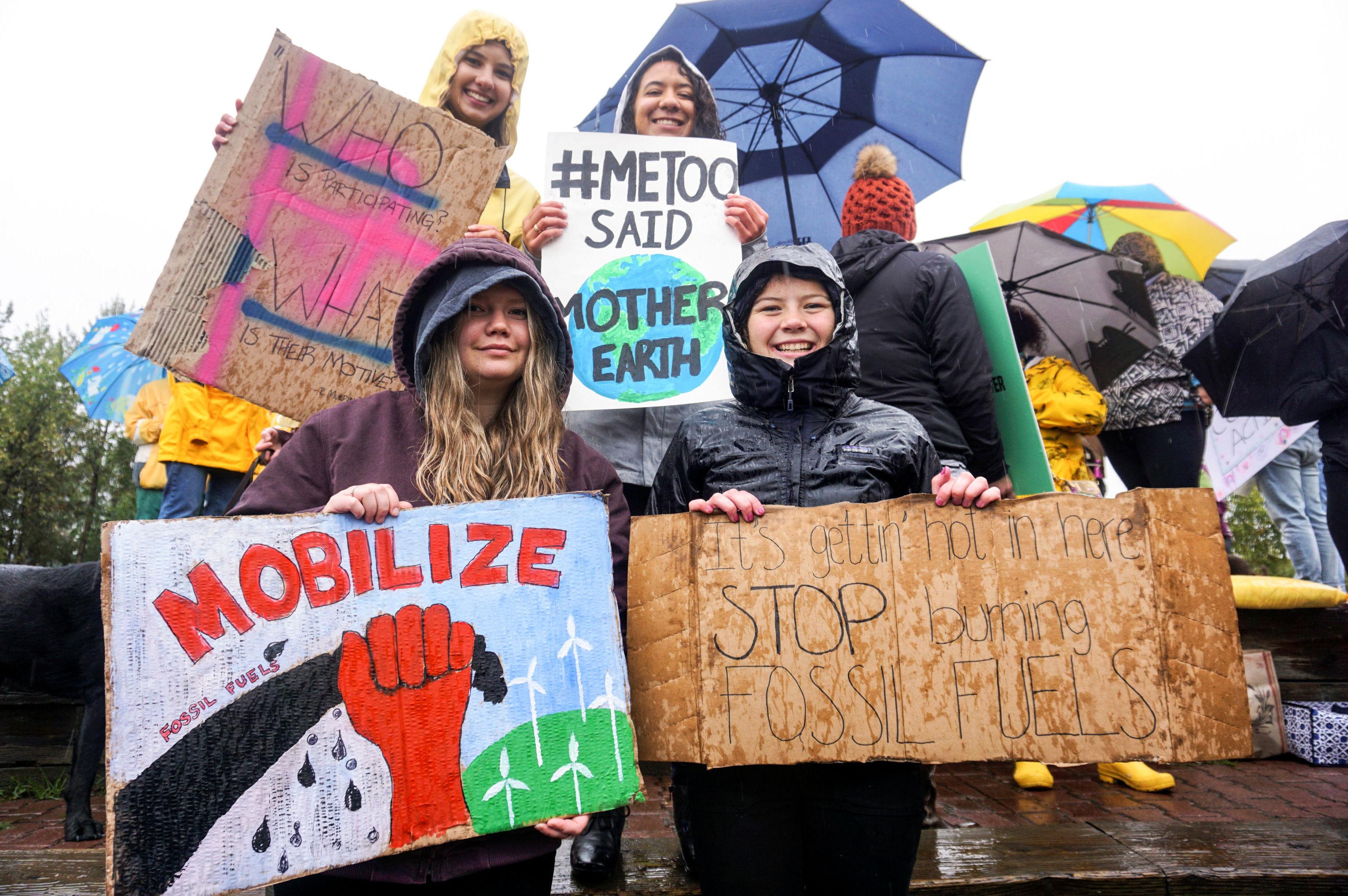 Participantes de una protesta contra el cambio climático en EEUU