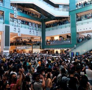 Las protestas de Hong Kong dentro de un centro comercial