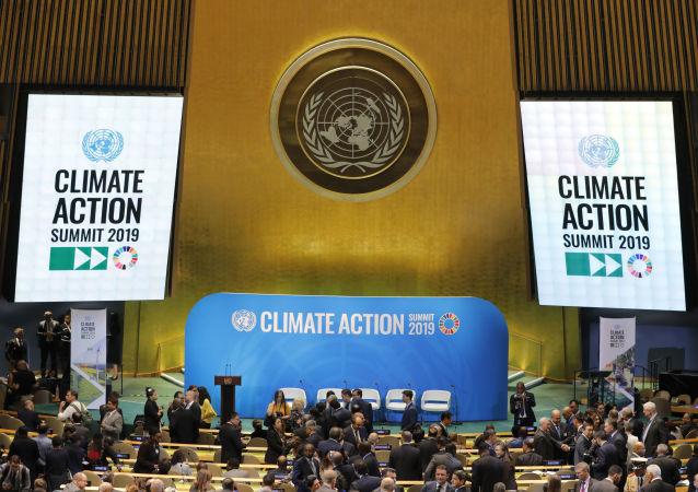 Delegaciones se reúnen en el Salón de la Asamblea General para la Cumbre de Acción Climática de las Naciones Unidas de 2019