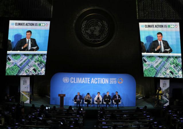 El presidente del Gobierno español en funciones, Pedro Sánchez, da un discurso durante la primera jornada de la Cumbre sobre Acción Climática en Nueva York