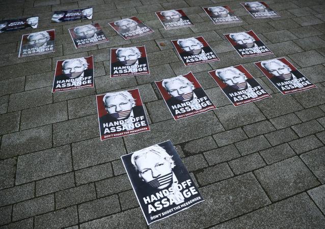 Carteles con el rostro de Julian Assange