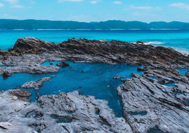 La costa de Okinawa, foto de archivo