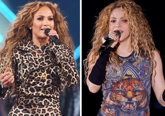 Las cantantes Jennifer Lopez y Shakira