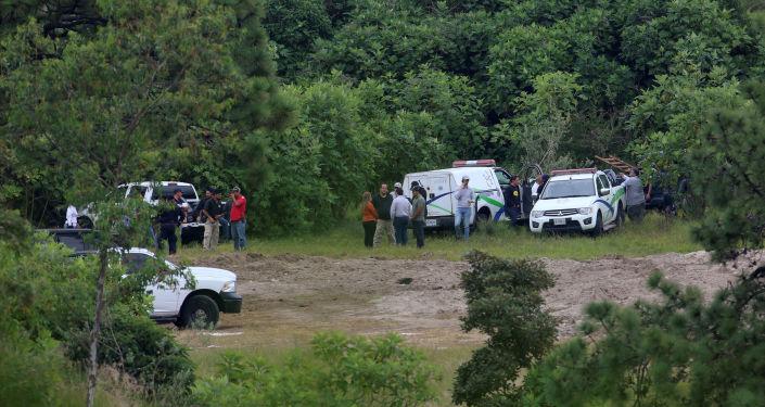 Forenses y policías en el terreno de Zapopan, Guadalajara, donde se encontraron cientos de restos humanos