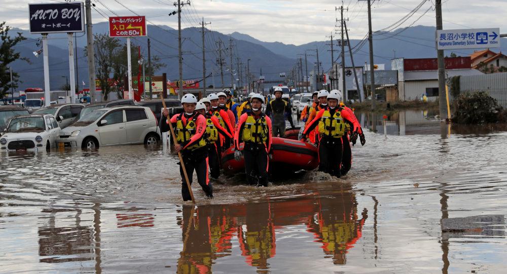 Área afectada por el tifón Hagibis en Japón