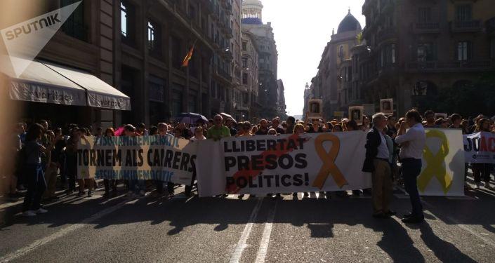 Marcha Vía Laietana en Barcelona contra la sentencia del Tribunal Supremo de España por el caso de los líderes independentistas catalanes