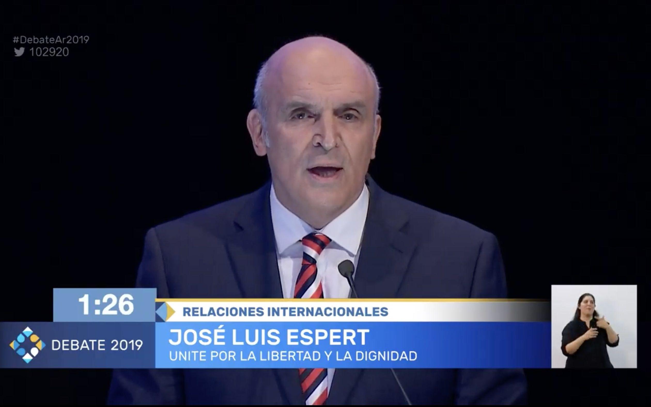 José Luis Espert, candidato por Unite por la Libertad y la Dignidad, durante el debate