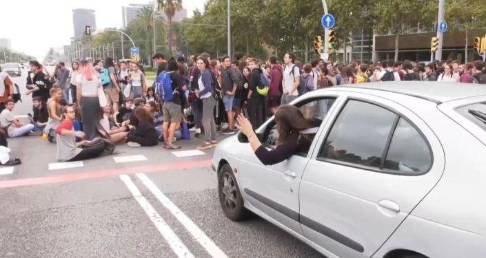 Protestas en Barcelona por la sentencia contra los líderes independentistas catalanes