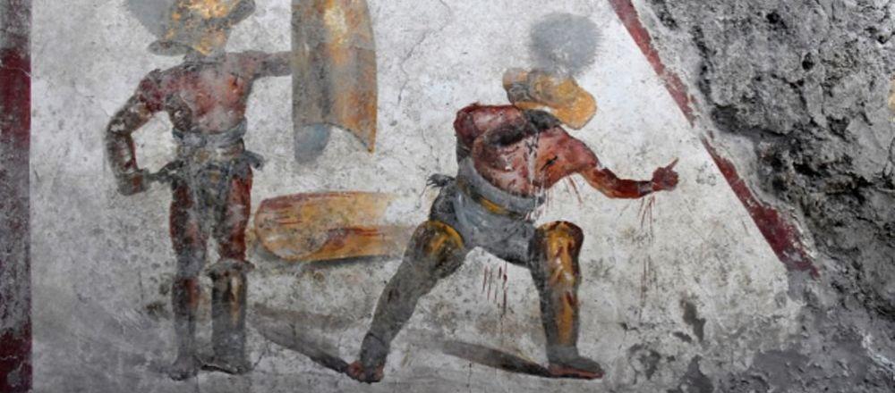 Fresco de los gladiadores encontrado en Pompeya