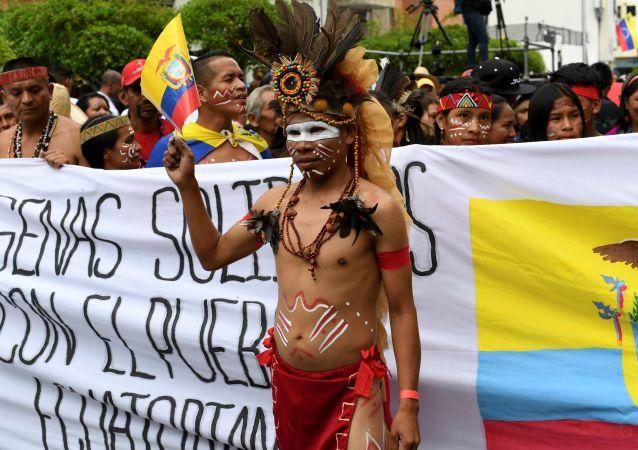 Manifestación de los indígenas venezolanos
