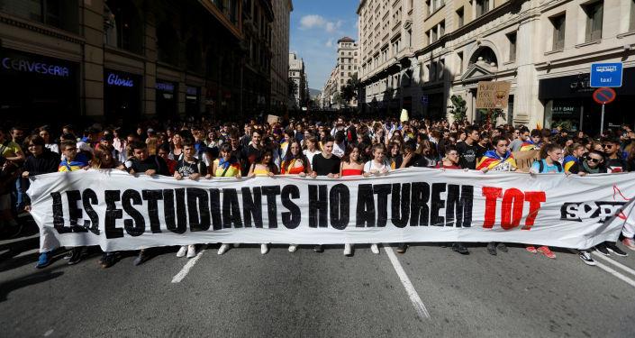 Los estudiantes protestan en Barcelona