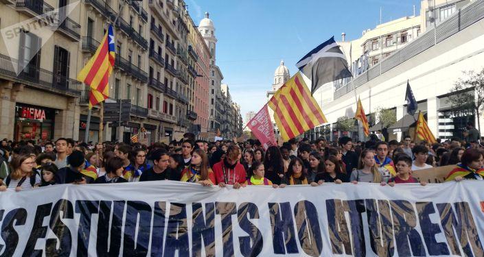 Protesta estudiantil en Barcelona