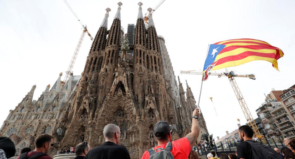 Protestas cerca de la Sagrada Familia en Barcelona