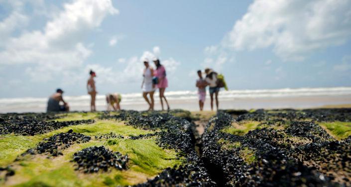Una vista a la playa 'Sitio do Conde' en el estado brasileño de Bahía
