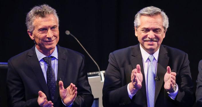 El presidente argentino Mauricio Macri y el candidato opositor Alberto Fernández