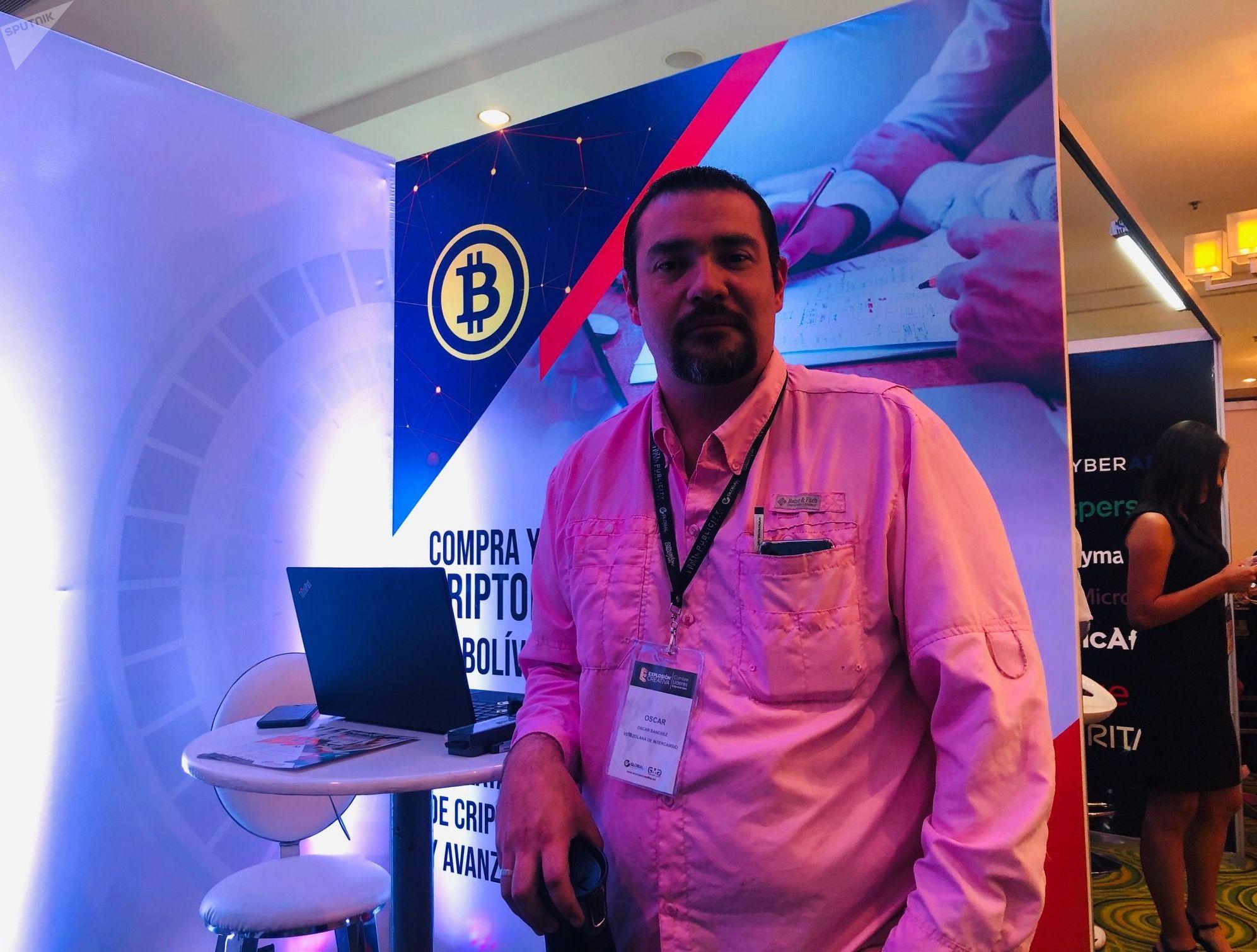 Óscar Sánchez, director de ventas de la empresa venezolana 'Intercambio', que trabaja con criptomonedas