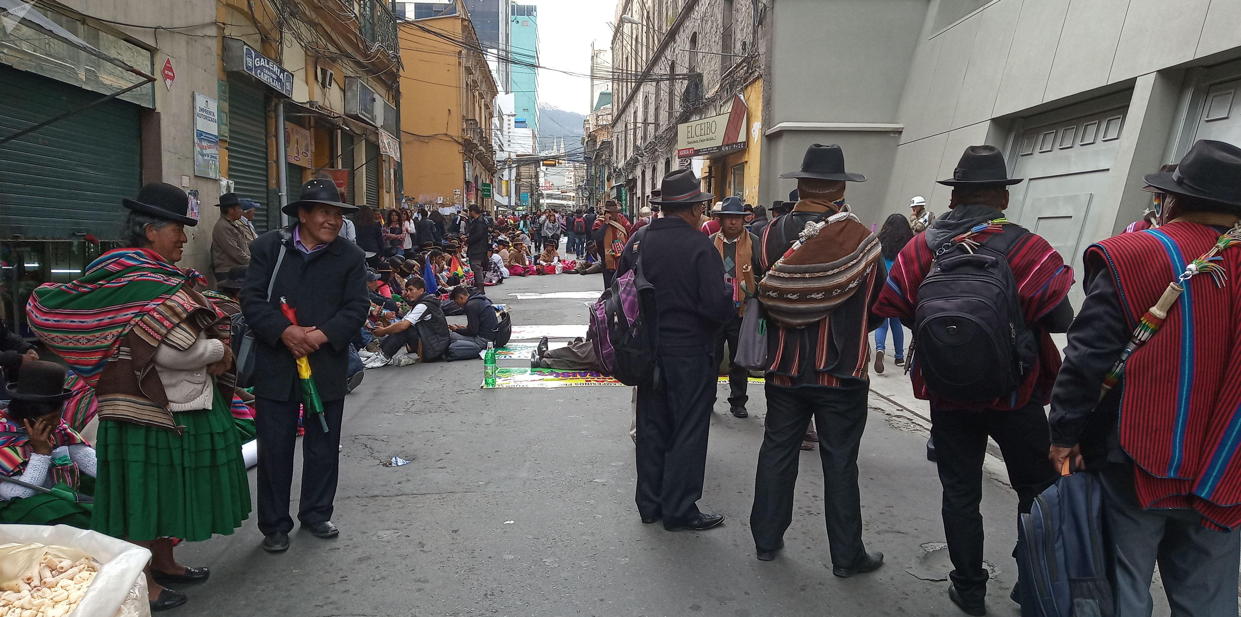 Movilización en resguardo de la sede del Gobierno de Bolivia