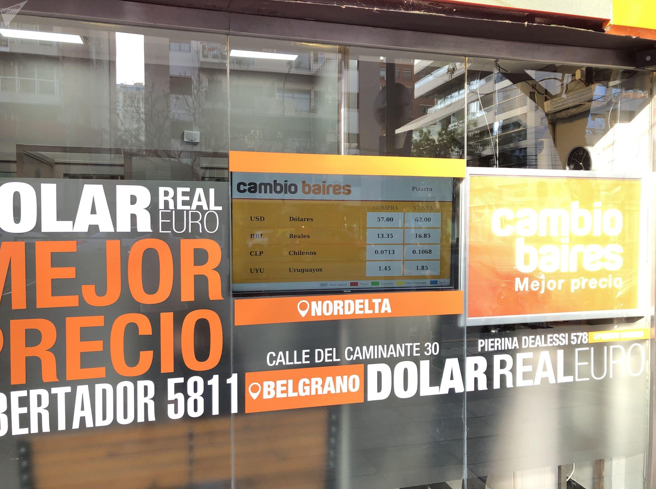 Pizarra de cotización de un cambio en Buenos Aires en octubre de 2019