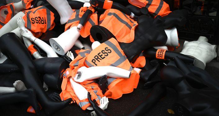 Una acción de protesta para conmemorar el primer aniversario del asesinato del periodista saudí Jamal Khashoggi