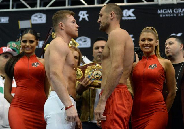 Ceremonia de pesaje entre Saúl 'Canelo' Álvarez y Sergey Kovalev