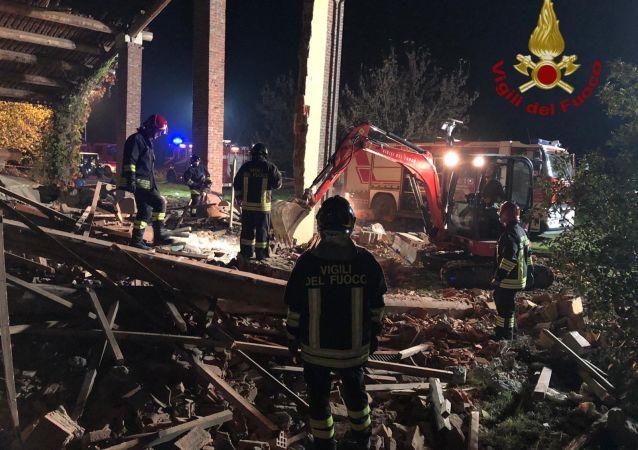 Lugar de la explosión en el norte de Italia
