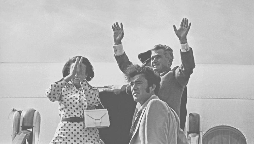 Nicu Ceausescu junto a sus padres, Nicolae y Elena Ceausescu