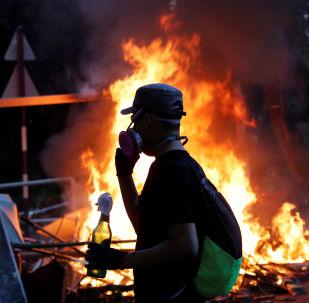 Un manifestante en Hong Kong (imagen referencial)