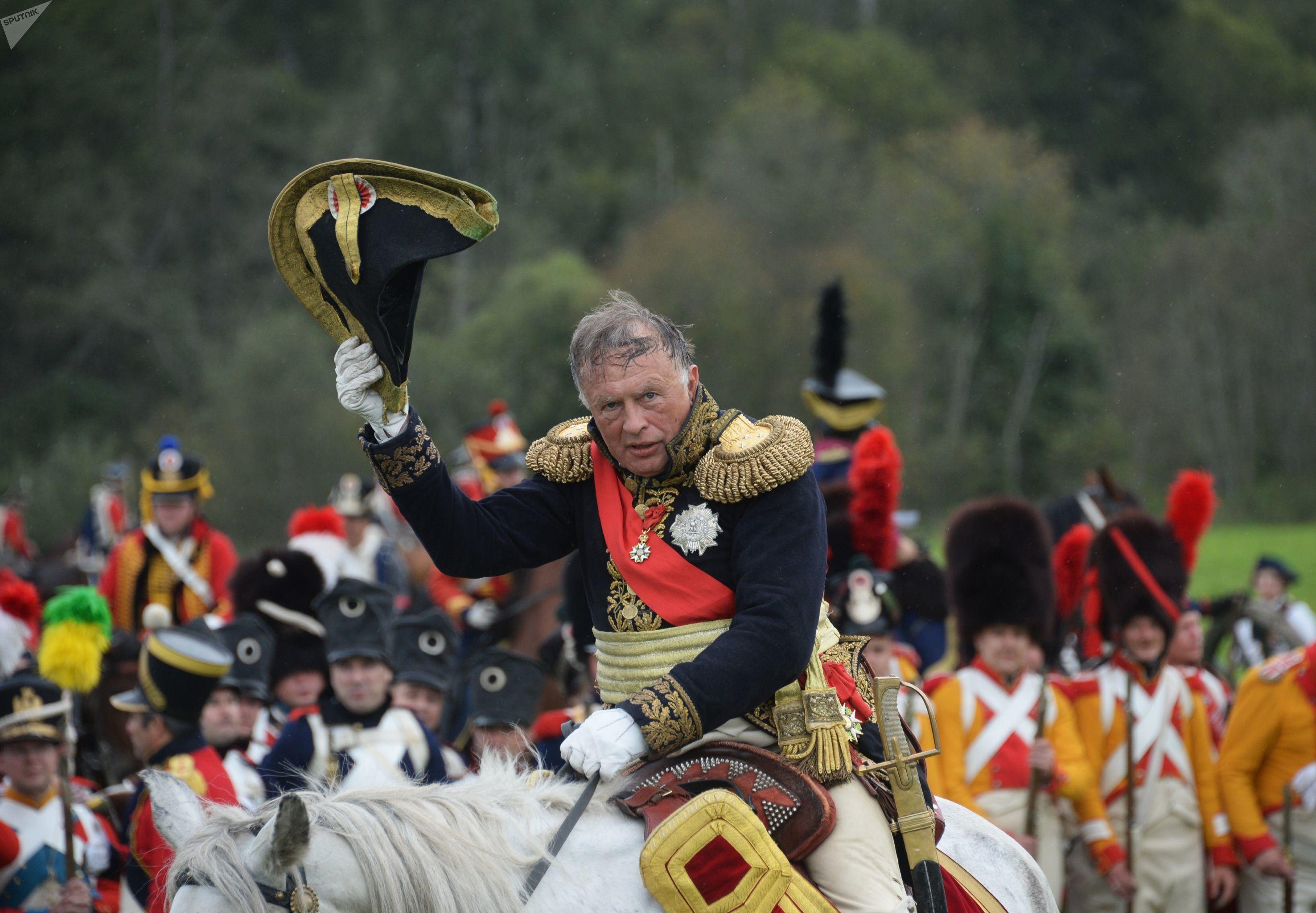 Oleg Sokolov durante un festival histórico en la región de Moscú