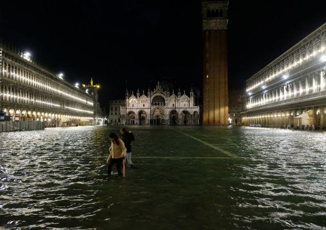 Inundación en Venecia, Italia