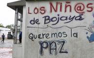 La inscripción Los niños de Bojayá queremos paz