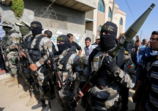 Combatientes de la Yihad Islámica en la Franja de Gaza