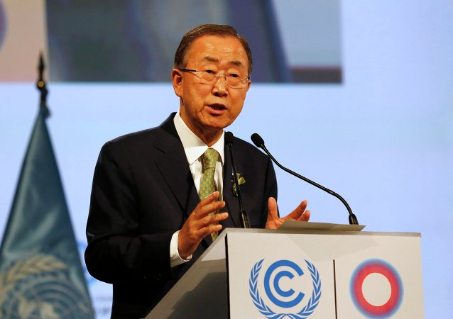 United Nations Secretary-General Ban Ki-moon gives a speech during the U.N. Climate Change Conference COP 20 in Lima, December 9