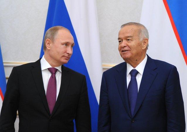 Presidente de Rusia, Vladímir Putin, y presidente de Uzbekistán, Islam Karímov