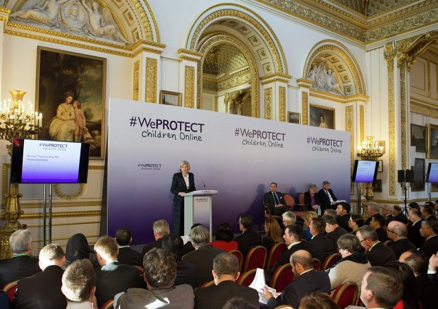 Theresa May speaks at the #WeProtect Children Online summit