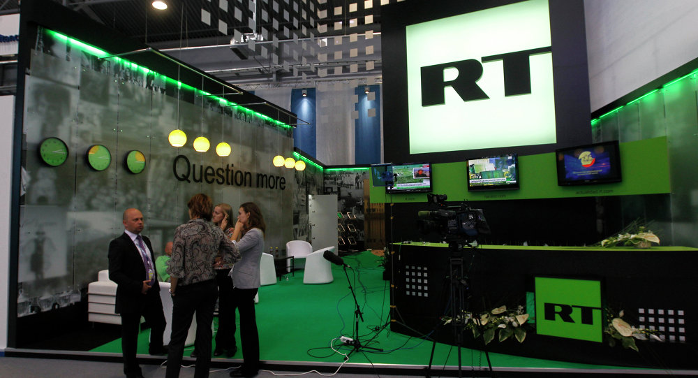 Стенд канала Russia Today