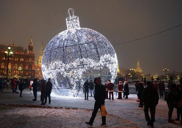 Decoración navideño en el centro de Moscú