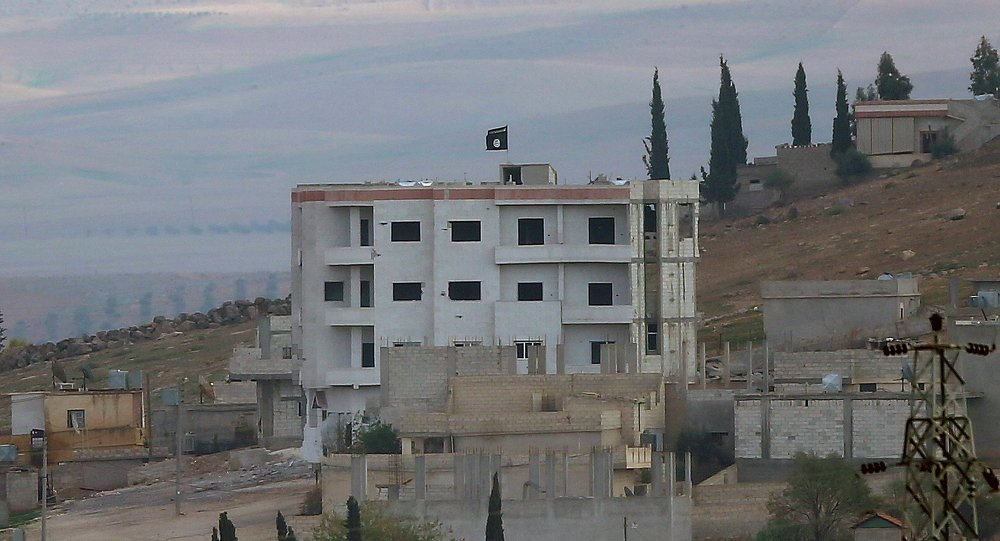 An Islamic State flag is seen atop a building in eastern Kobani