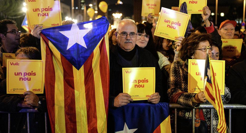 Митинг в поддержку независимости Каталонии в Барселоне