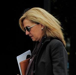 Princesa Cristina se acerca a su oficina en Barcelona