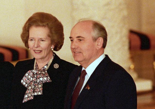 Exprimera ministra de Gran Bretaña, Margaret Thatcher y expresidente de la URSS, Mijaíl Gorbachov