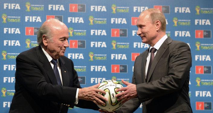 Presidente de la FIFA, Joseph Blatter y presidente de Rusia, Vladímir Putin
