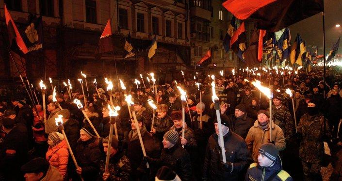 Marcha con antorchas en Kiev