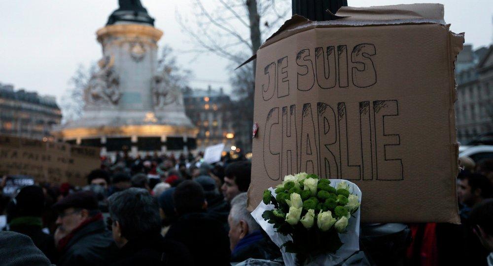 Акция памяти погибших в редакции журнала Charlie Hebdo в Париже