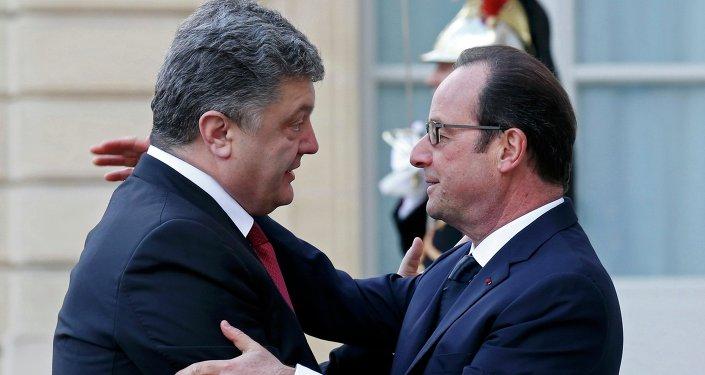 Presidente de Ucrania, Petró Poroshenko y presidente de Francia, Francois Hollande