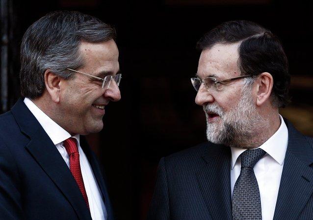 Antonis Samarás, primer ministro de Grecia y Mariano Rajoy, presidente de España